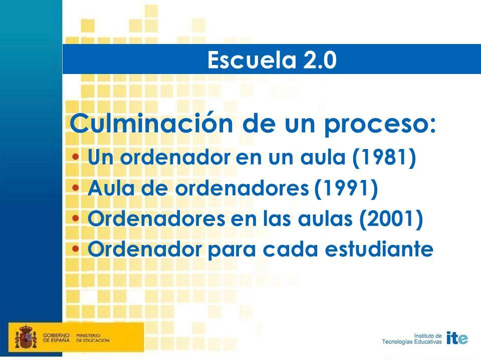 Culminación de un proceso: Un ordenador en un aula (1981) Aula de ordenadores (1991) Ordenadores en las aulas (2001) Ordenador para cada estudiante Escuela 2.0