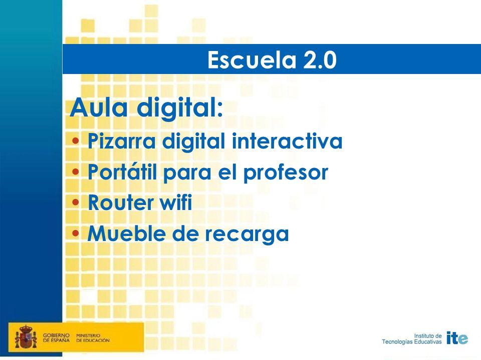 Aula digital: Pizarra digital interactiva Portátil para el profesor Router wifi Mueble de recarga Escuela 2.0