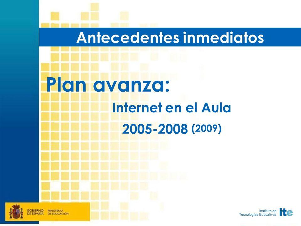 Plan avanza: Internet en el Aula 2005-2008 (2009) Antecedentes inmediatos
