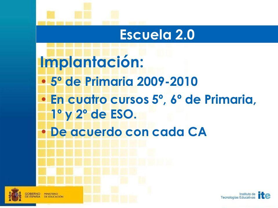Implantación: 5º de Primaria 2009-2010 En cuatro cursos 5º, 6º de Primaria, 1º y 2º de ESO.