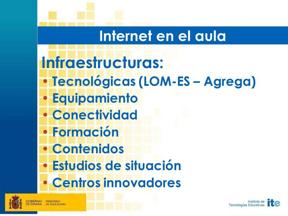 Infraestructuras: Tecnológicas (LOM-ES – Agrega) Equipamiento Conectividad Formación Contenidos Estudios de situación Centros innovadores Internet en el aula