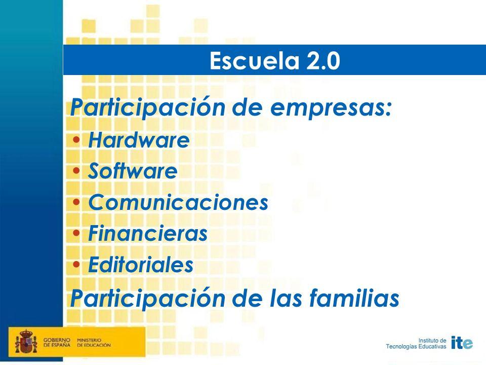 Participación de empresas: Hardware Software Comunicaciones Financieras Editoriales Participación de las familias Escuela 2.0
