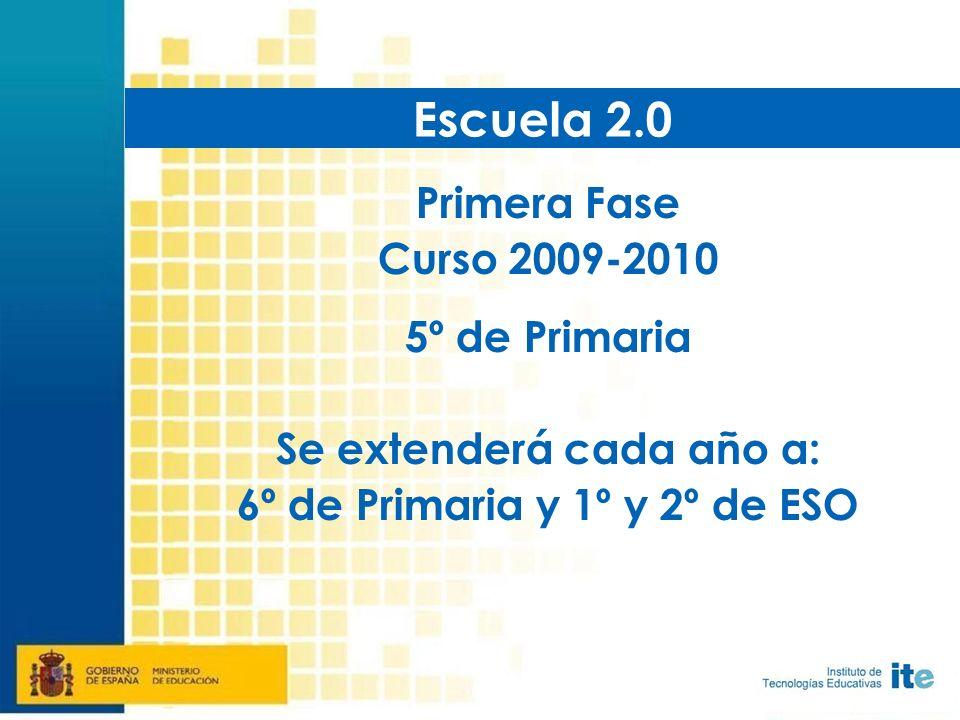 Primera Fase Curso 2009-2010 5º de Primaria Se extenderá cada año a: 6º de Primaria y 1º y 2º de ESO Escuela 2.0