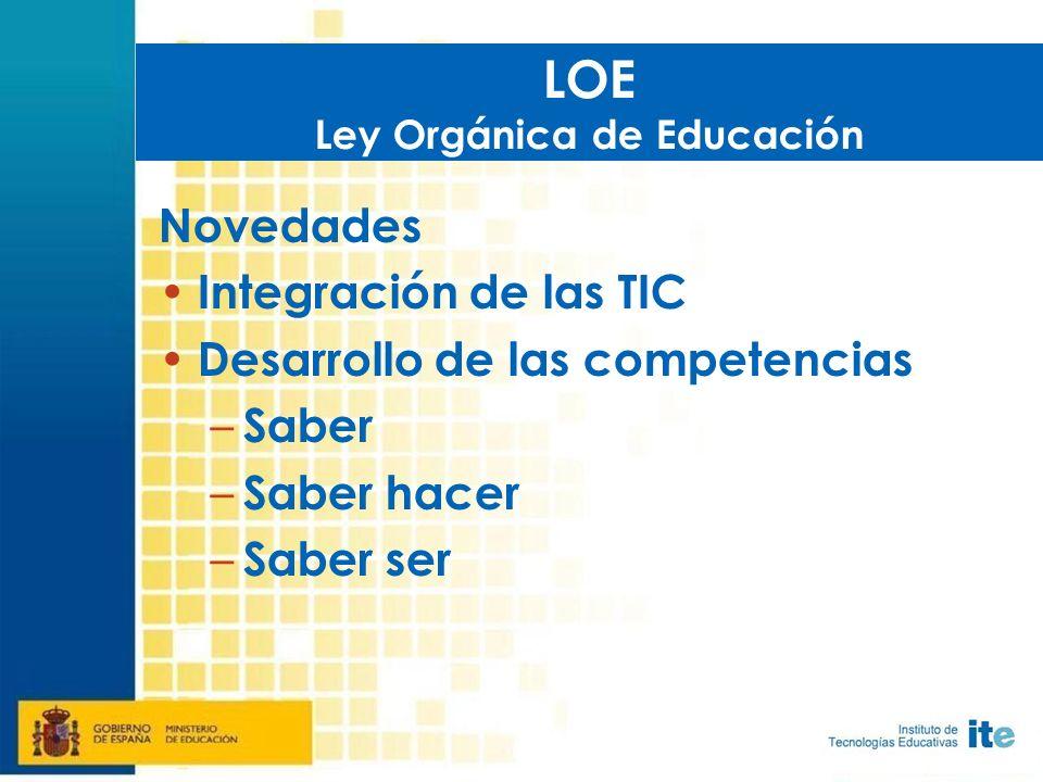 Novedades Integración de las TIC Desarrollo de las competencias – Saber – Saber hacer – Saber ser LOE Ley Orgánica de Educación