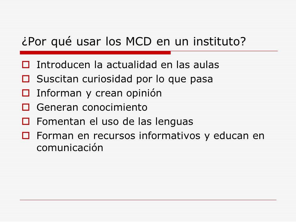 ¿Qué se hace con los MCD.