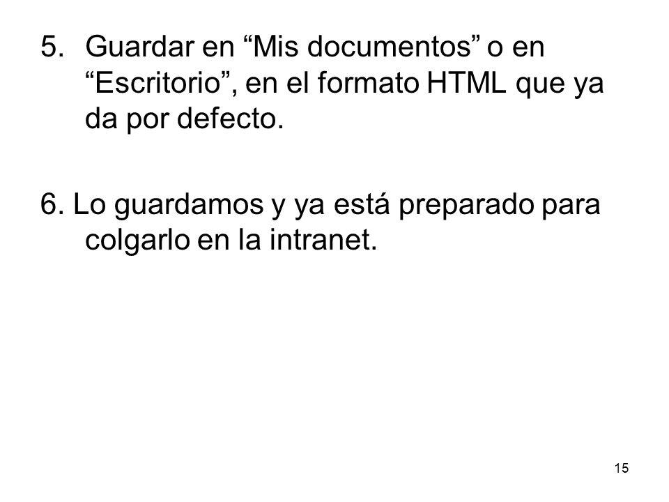 15 5. Guardar en Mis documentos o en Escritorio, en el formato HTML que ya da por defecto. 6. Lo guardamos y ya está preparado para colgarlo en la int