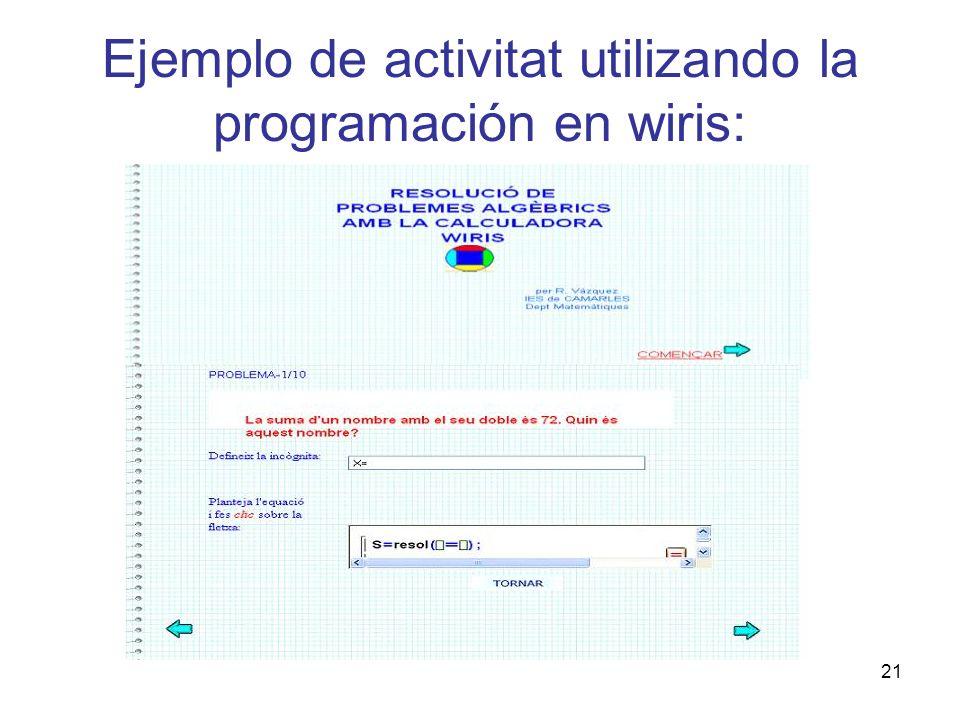 21 Ejemplo de activitat utilizando la programación en wiris: