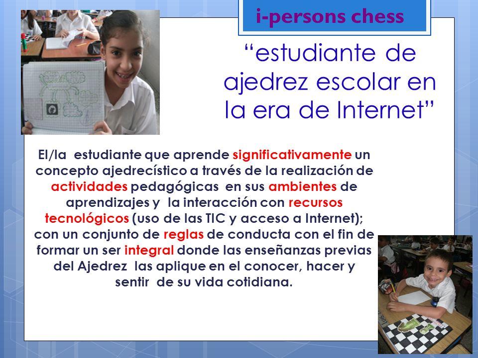 estudiante de ajedrez escolar en la era de Internet El/la estudiante que aprende significativamente un concepto ajedrecístico a través de la realizaci