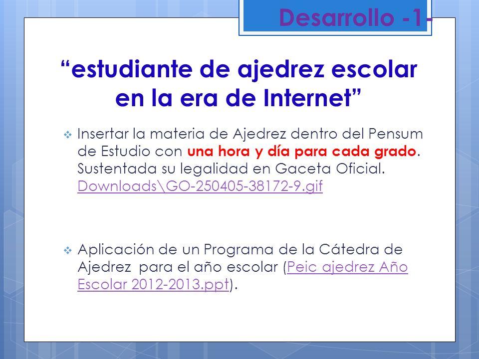 Desarrollo -2- Aplicación de Estrategias Metodológicas de Ajedrez (EMA), con objetivo general, objetivos conceptuales, procedimentales y actitudinales por lapso, para las planificaciones semanales de las clases: Educación Preescolar en I,II, y III Etapa.EL AJEDREZ INSERTADO EN LAS AREAS DE APRENDIZAJE DE PREESCOLAR NSL.docxEL AJEDREZ INSERTADO EN LAS AREAS DE APRENDIZAJE DE PREESCOLAR NSL.docx Educación Primaria desde Primero hasta Sexto Grado.