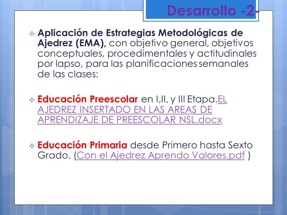 Desarrollo -2- Aplicación de Estrategias Metodológicas de Ajedrez (EMA), con objetivo general, objetivos conceptuales, procedimentales y actitudinales
