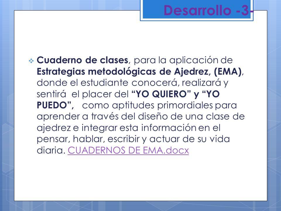 Desarrollo -3- Cuaderno de clases, para la aplicación de Estrategias metodológicas de Ajedrez, (EMA), donde el estudiante conocerá, realizará y sentir
