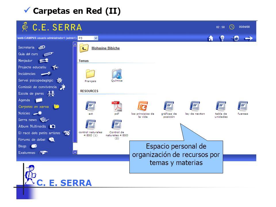 C. E. SERRA 6 Carpetas en Red (II) Espacio personal de organización de recursos por temas y materias