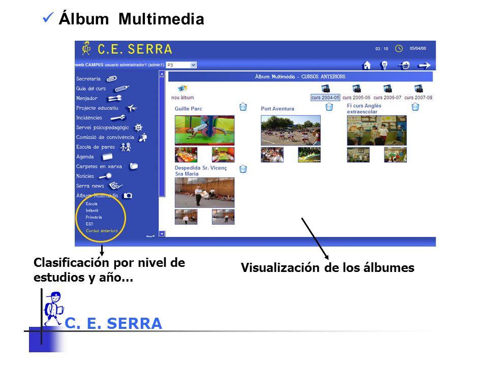C. E. SERRA 6 Álbum Multimedia Clasificación por nivel de estudios y año... Visualización de los álbumes