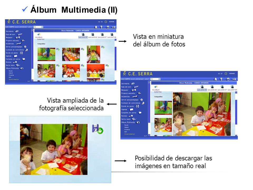 C. E. SERRA 6 Álbum Multimedia (II) Vista en miniatura del álbum de fotos Vista ampliada de la fotografía seleccionada Posibilidad de descargar las im