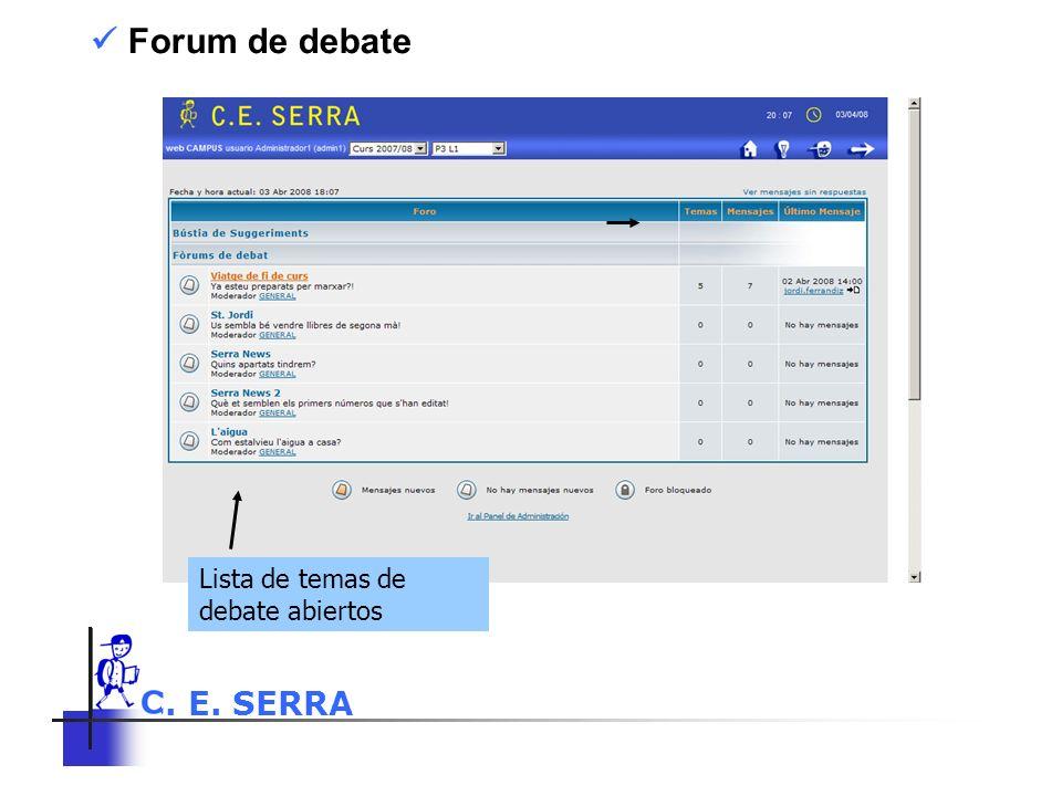 C. E. SERRA 6 Forum de debate Lista de temas de debate abiertos