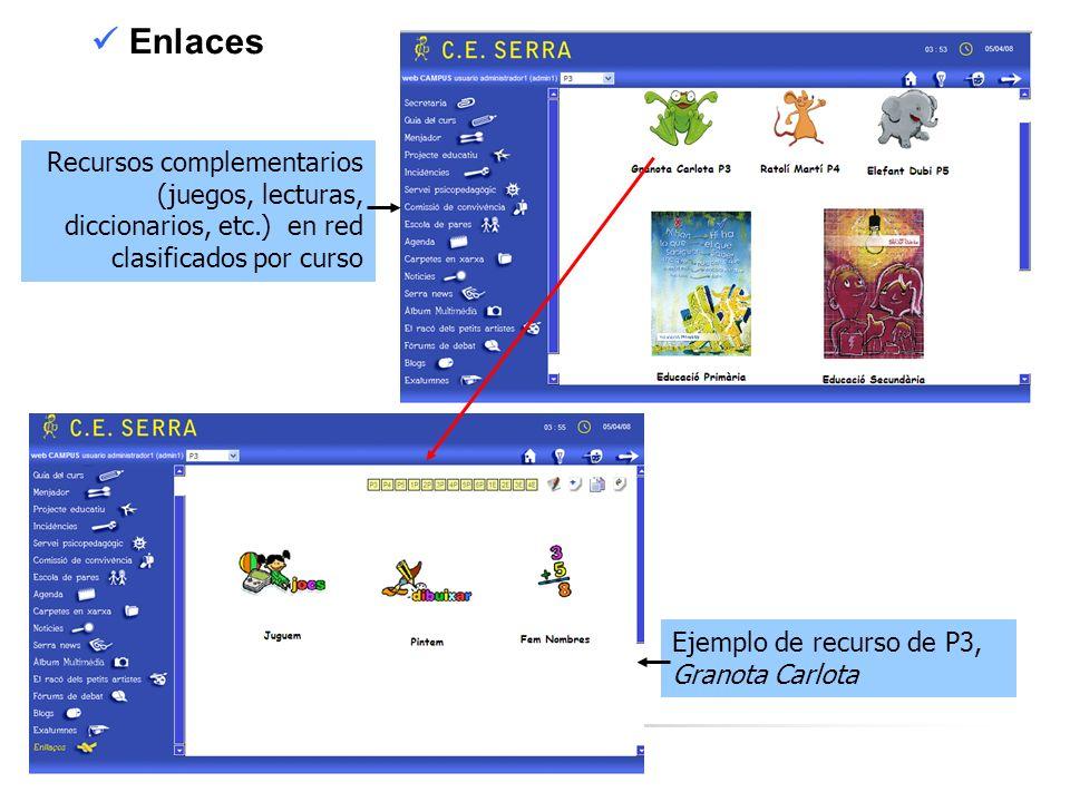 C. E. SERRA 6 Enlaces Recursos complementarios (juegos, lecturas, diccionarios, etc.) en red clasificados por curso Ejemplo de recurso de P3, Granota
