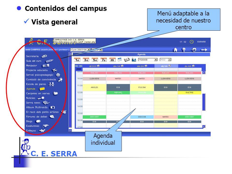 C. E. SERRA 6 Contenidos del campus Menú adaptable a la necesidad de nuestro centro Agenda individual Vista general