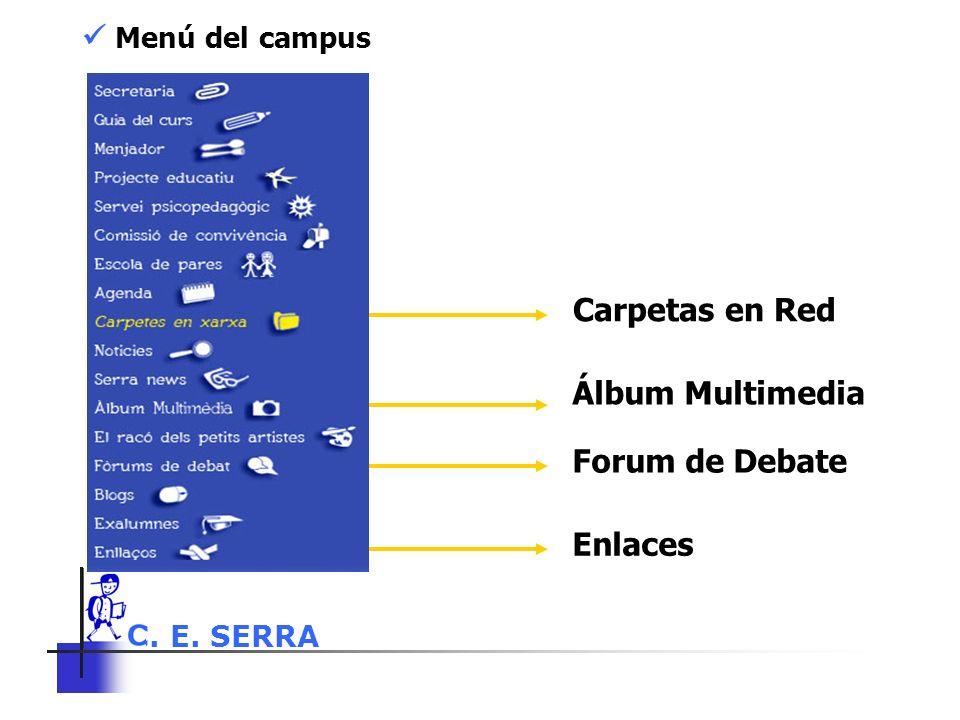 C. E. SERRA 6 Menú del campus Carpetas en Red Álbum Multimedia Forum de Debate Enlaces