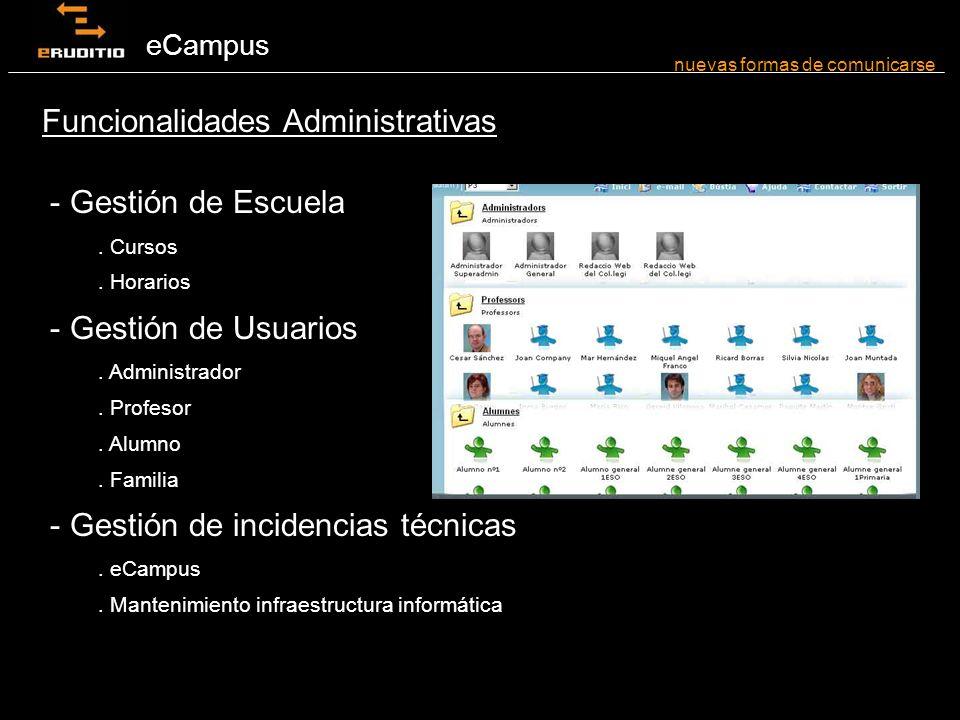 eCampus - Agenda individual - Multiagenda - Carpetas en RED nuevas formas de comunicarse Funcionalidades Organizativas