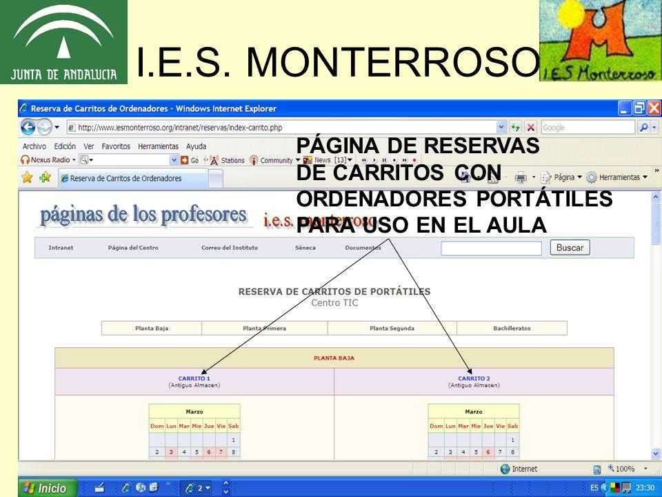 I.E.S. MONTERROSO PÁGINA DE RESERVAS DE CARRITOS CON ORDENADORES PORTÁTILES PARA USO EN EL AULA