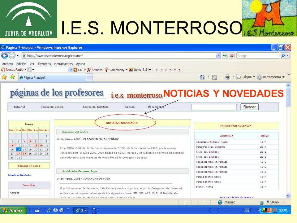 I.E.S. MONTERROSO DOCUMENTOS CALENDARIO DE ACTIVIDADES CORREO Y SÉNECA