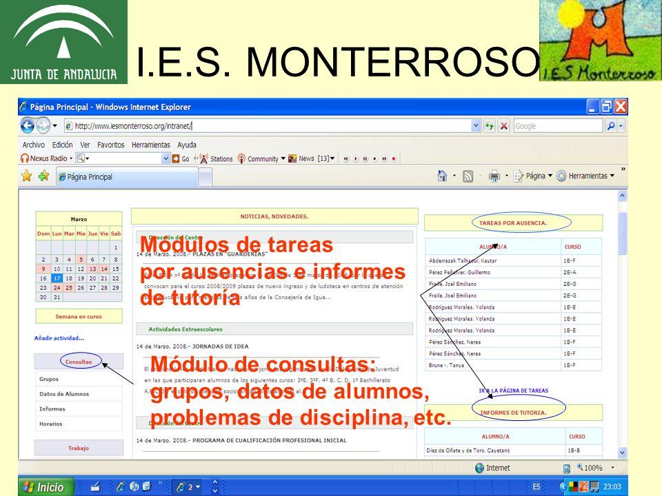 I.E.S. MONTERROSO Módulos de tareas por ausencias e informes de tutoría Módulo de consultas: grupos, datos de alumnos, problemas de disciplina, etc.