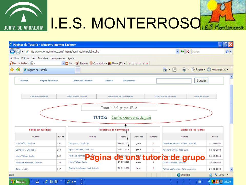 I.E.S. MONTERROSO Página de una tutoría de grupo