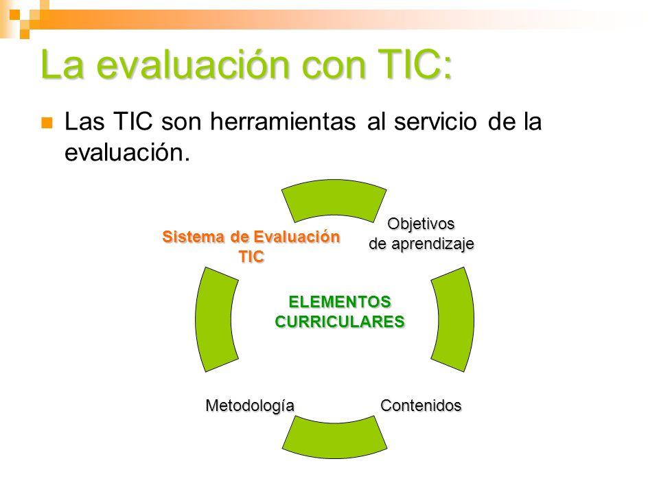 La evaluación con TIC: Las TIC son herramientas al servicio de la evaluación. ELEMENTOS CURRICULARES