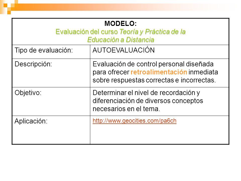 Evaluación del curso Teoría y Práctica de la Educación a Distancia MODELO: Evaluación del curso Teoría y Práctica de la Educación a Distancia Tipo de