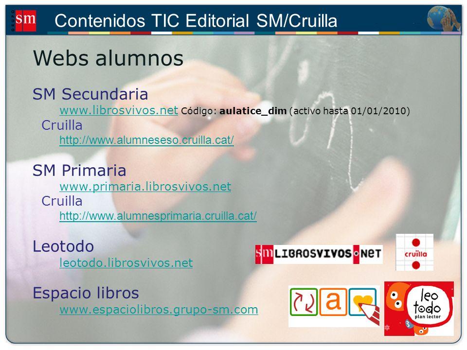 Contenidos TIC Editorial SM/Cruilla Webs para el profesor Profes.net www.profes.netwww.profes.net (3.650.000 visitas al mes) Recursos en red www.recursosenred.profes.net SM ELE www.sm-ele.com www.sm-ele.com SM LIR (demo) http://www.e-sm.net/lir_demo_cruilla Otras iniciativas web Exámenes de selectividad: www.selectividad.profes.netwww.selectividad.profes.net Vídeos didácticas: www.librosvivos.org/videoswww.librosvivos.org/videos