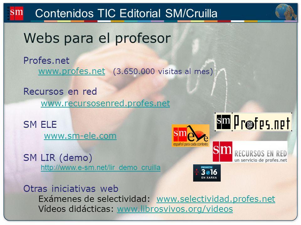 Contenidos TIC Editorial SM/Cruilla Presentaciones interactivas Lecciones interactivas Secundaria Actividades interactivas Infantil Aventuras gráficas Primaria Bachillerato