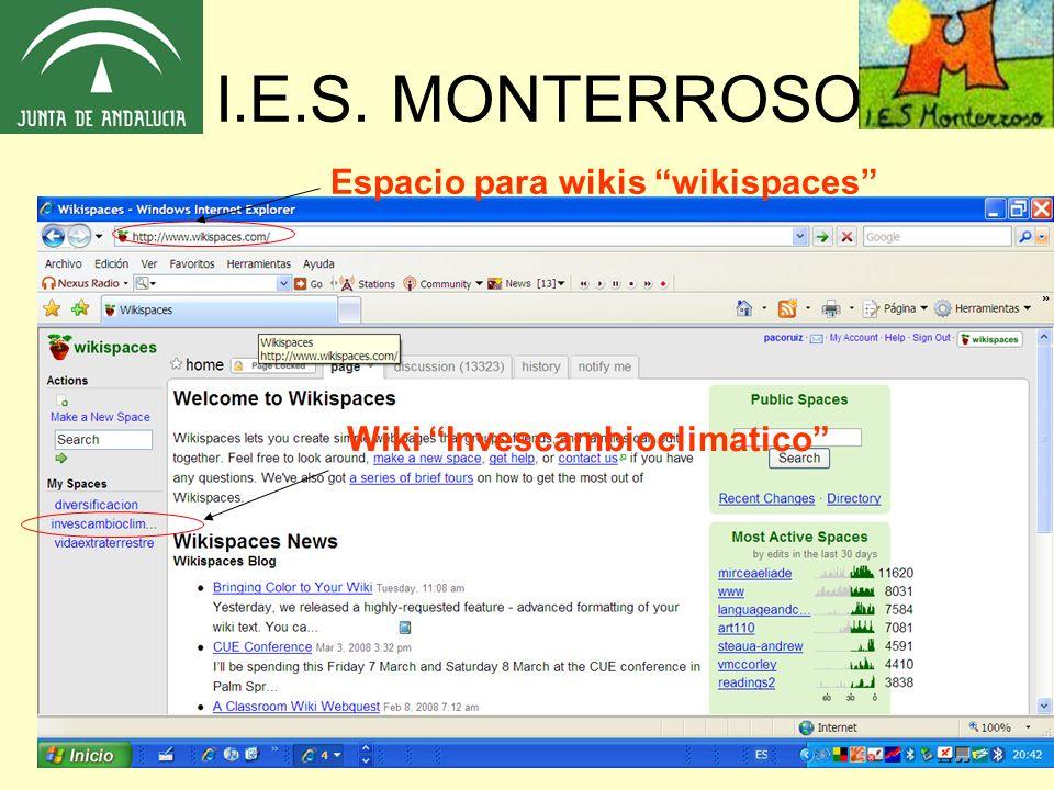 I.E.S. MONTERROSO Wiki Invescambioclimatico Espacio para wikis wikispaces