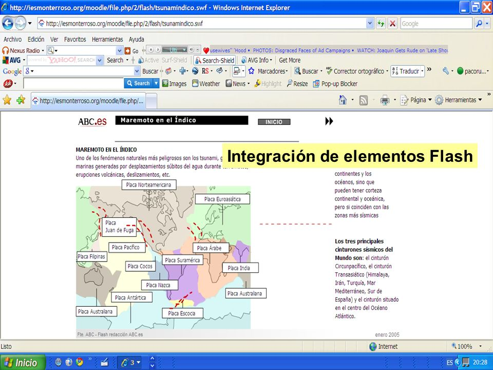 Integración de elementos Flash