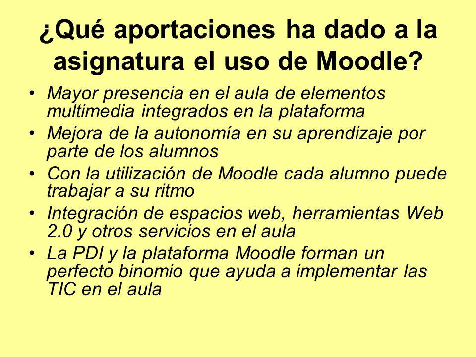 ¿Qué aportaciones ha dado a la asignatura el uso de Moodle.