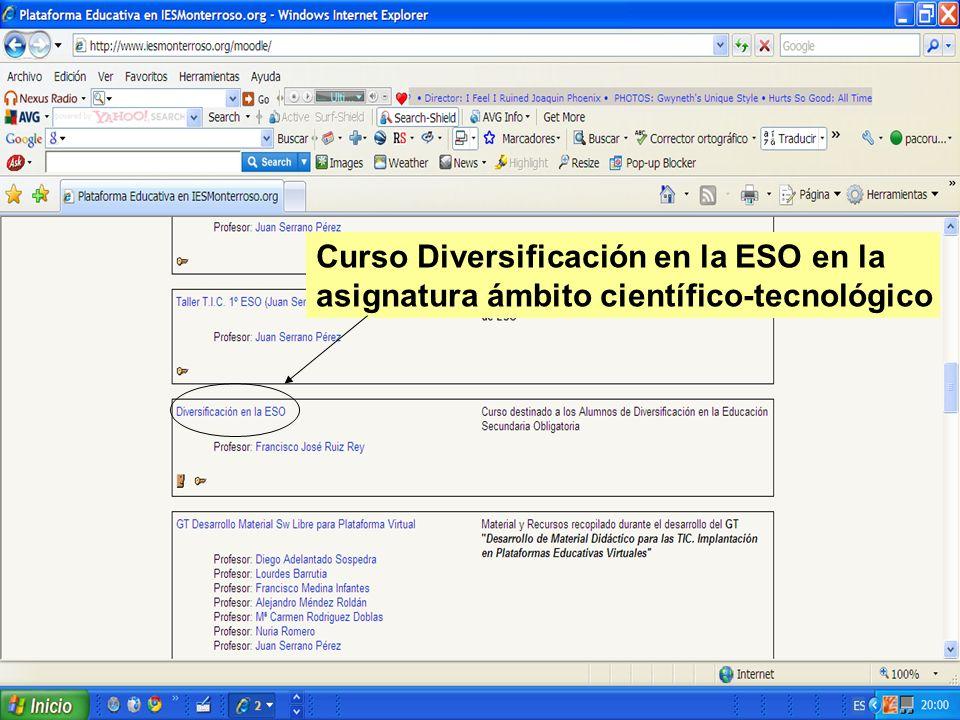 Curso Diversificación en la ESO en la asignatura ámbito científico-tecnológico