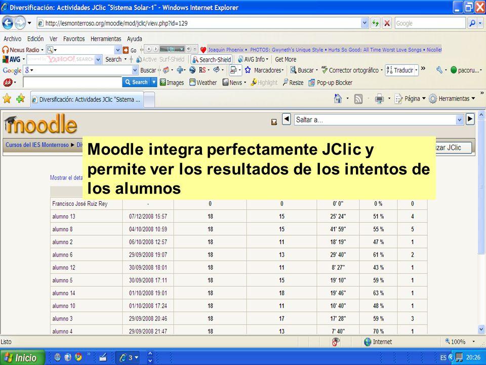 Moodle integra perfectamente JClic y permite ver los resultados de los intentos de los alumnos