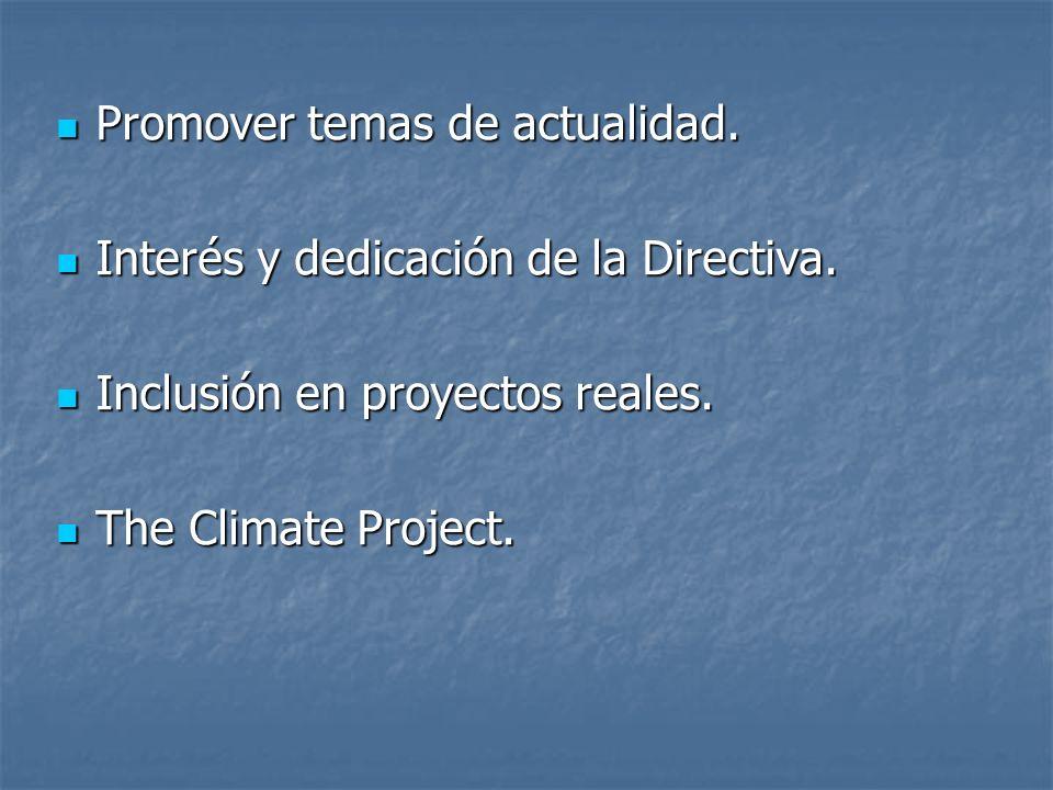 Promover temas de actualidad. Promover temas de actualidad. Interés y dedicación de la Directiva. Interés y dedicación de la Directiva. Inclusión en p