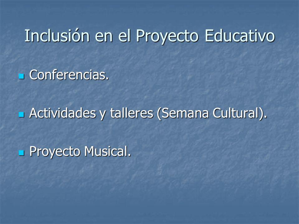Inclusión en el Proyecto Educativo Conferencias. Conferencias. Actividades y talleres (Semana Cultural). Actividades y talleres (Semana Cultural). Pro