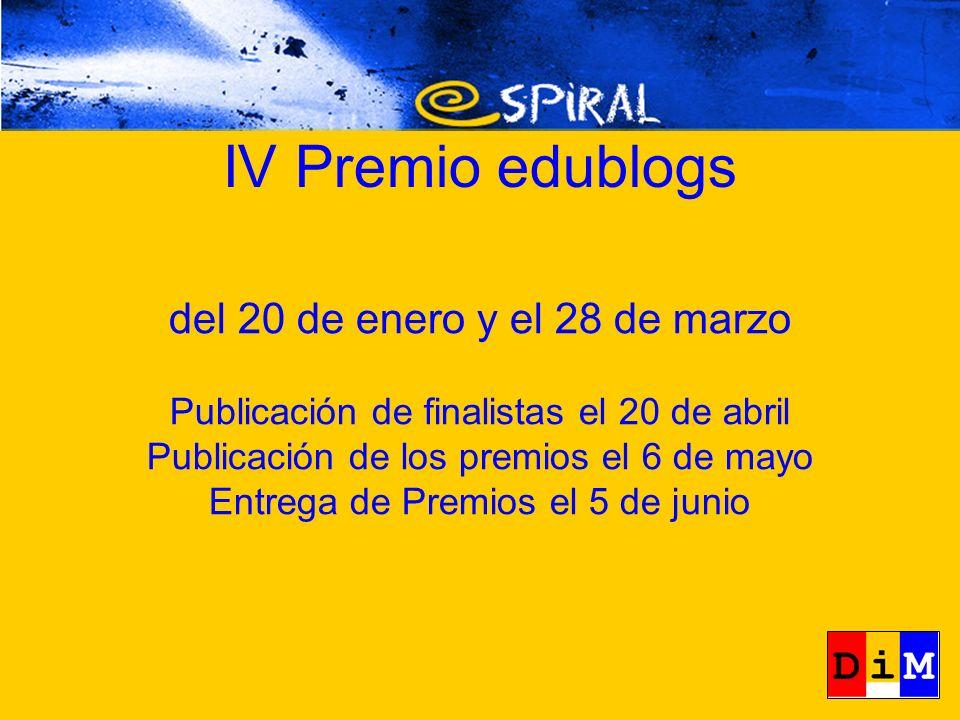 del 20 de enero y el 28 de marzo Publicación de finalistas el 20 de abril Publicación de los premios el 6 de mayo Entrega de Premios el 5 de junio
