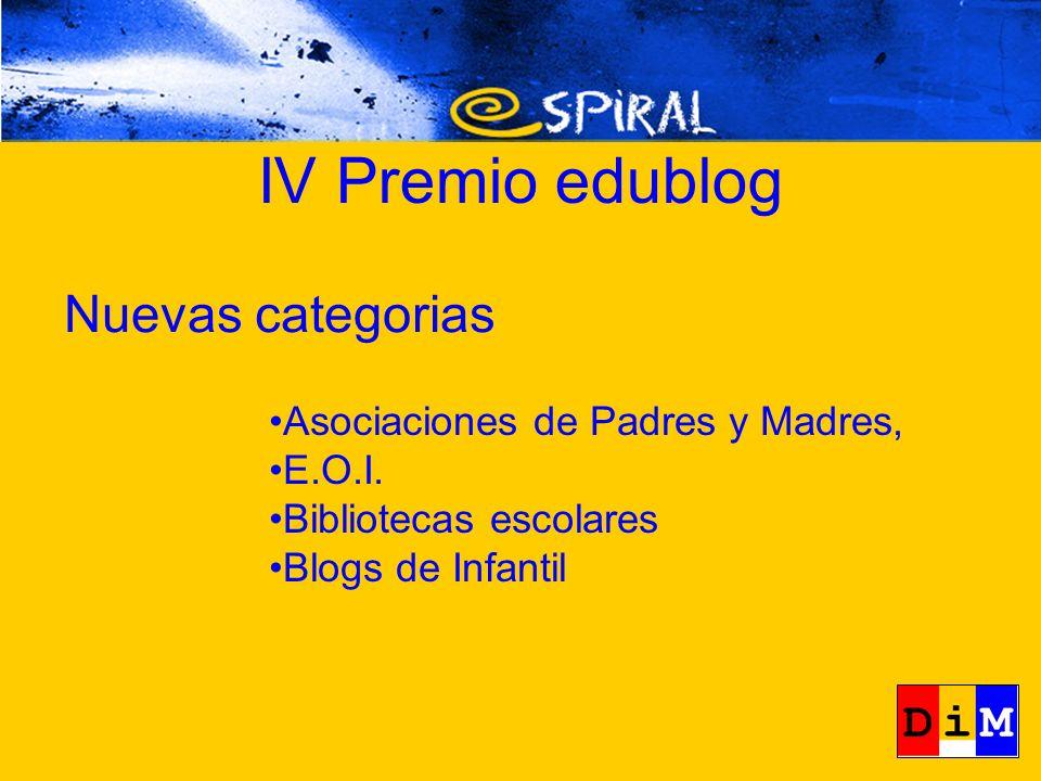 IV Premio edublog Asociaciones de Padres y Madres, E.O.I. Bibliotecas escolares Blogs de Infantil Nuevas categorias