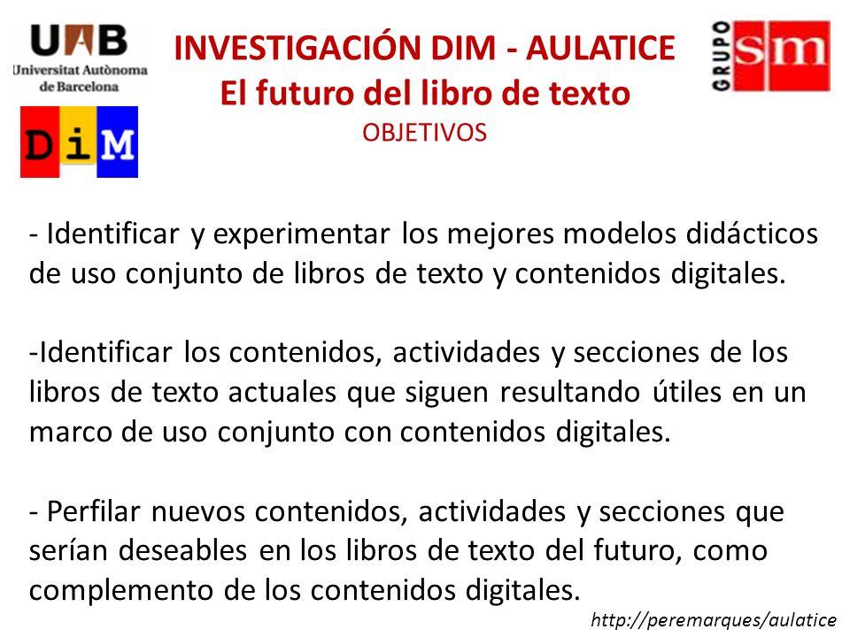 Se elaborará un primer catálogo de modelos didácticos para el uso conjunto del libro de texto y los contenidos digitales.