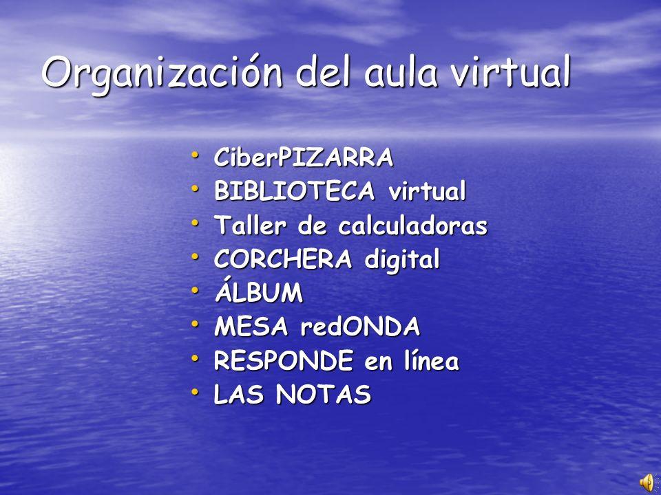 Organización del aula virtual CiberPIZARRA CiberPIZARRA BIBLIOTECA virtual BIBLIOTECA virtual Taller de calculadoras Taller de calculadoras CORCHERA d