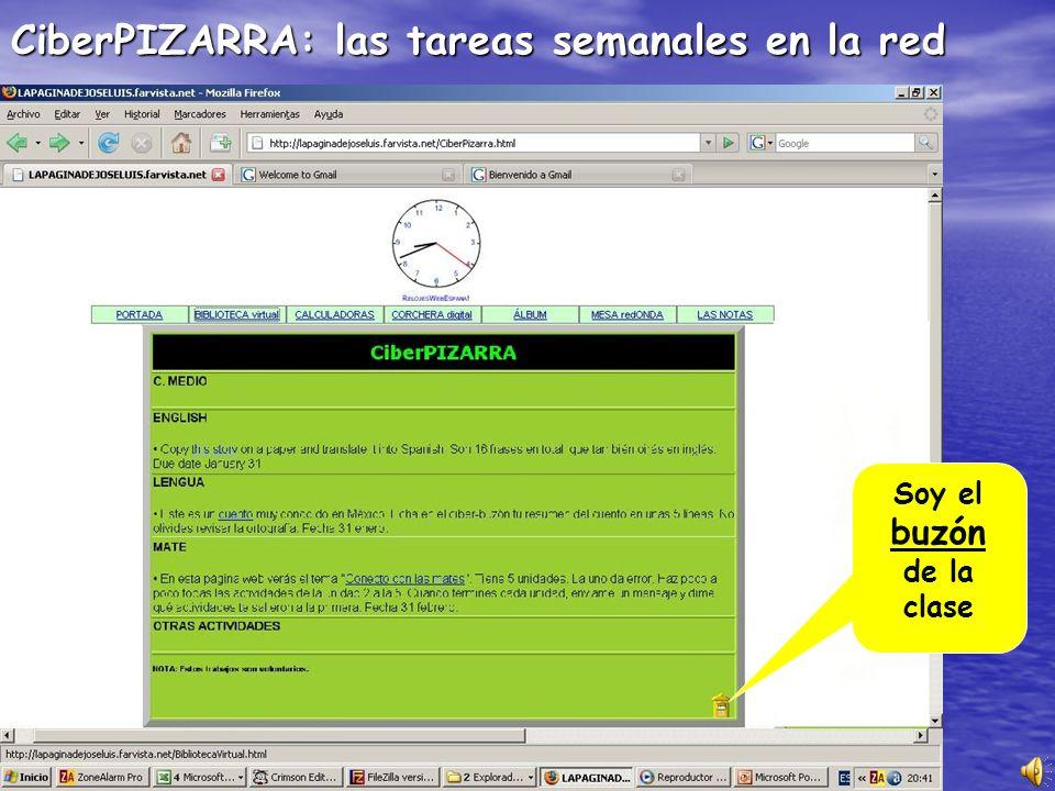 CiberPIZARRA: las tareas semanales en la red Soy el buzón de la clase