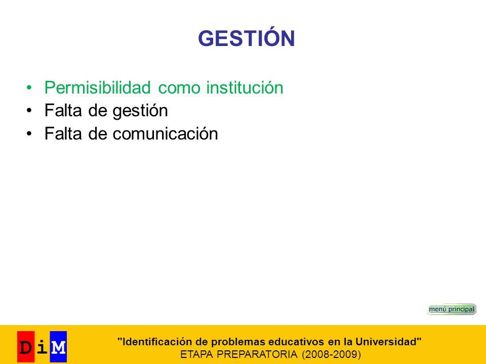 GESTIÓN Permisibilidad como institución Falta de gestión Falta de comunicación