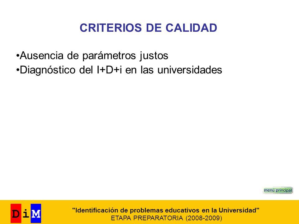 CRITERIOS DE CALIDAD Ausencia de parámetros justos Diagnóstico del I+D+i en las universidades