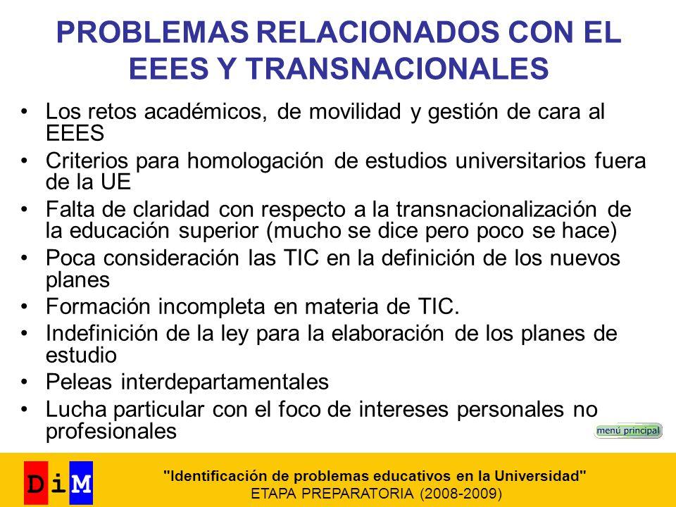 PROBLEMAS RELACIONADOS CON EL EEES Y TRANSNACIONALES Los retos académicos, de movilidad y gestión de cara al EEES Criterios para homologación de estud