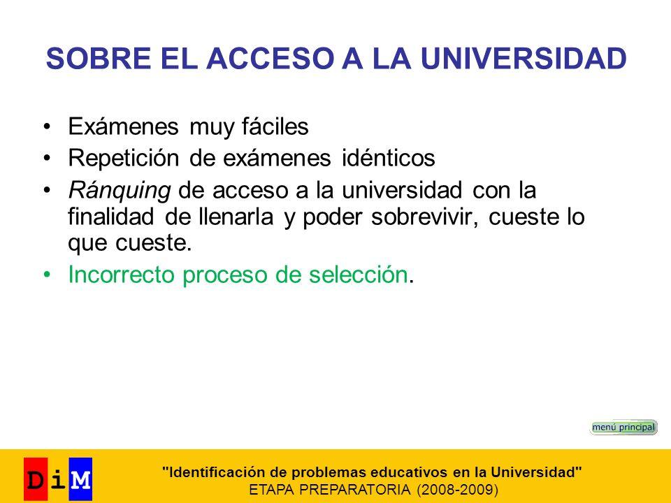 SOBRE EL ACCESO A LA UNIVERSIDAD Exámenes muy fáciles Repetición de exámenes idénticos Ránquing de acceso a la universidad con la finalidad de llenarl
