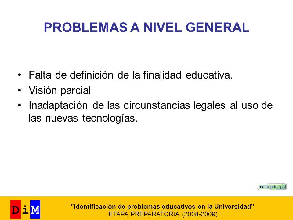 PROBLEMAS A NIVEL GENERAL Falta de definición de la finalidad educativa. Visión parcial Inadaptación de las circunstancias legales al uso de las nueva