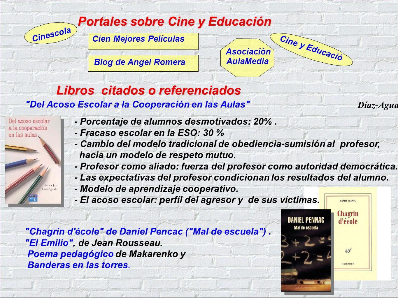 Portales sobre Cine y Educación Cine y Educació Blog de Angel Romera Cinescola Asociación AulaMedia Cien Mejores Películas Del Acoso Escolar a la Cooperación en las Aulas - Porcentaje de alumnos desmotivados: 20%.