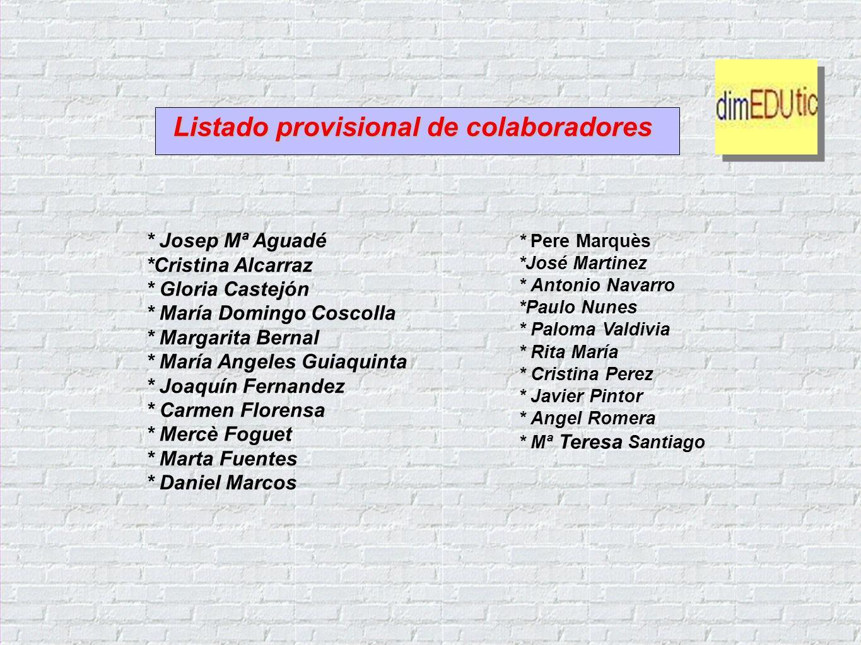 * Pere Marquès *José Martinez * Antonio Navarro *Paulo Nunes * Paloma Valdivia * Rita María * Cristina Perez * Javier Pintor * Angel Romera * Mª Teres